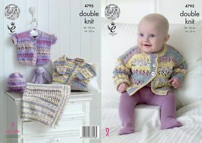 King Cole Baby Cardigans, Hat & Blanket Drifter for Baby Knitting Pattern...