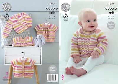 King Cole Baby Cardigans & Sweaters Candystripe Knitting Pattern 4813  DK...