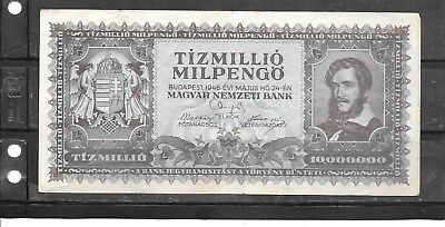 Hungary #129 1946 10 Million Milpengo Vg Circ Old Banknote Paper Money Bill Note