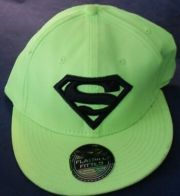 8a78fbb6aa3 Superman Logo DC Comics Bright Green   Black Snapback Baseball Hat Cap L XL