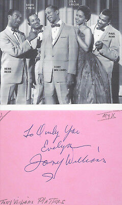 Tony Williams (Platters)...vintage Hand Signed/inscribed Album Page..1961..pict.