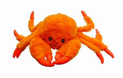Jolly Pets Tug-A-Mals Crab Large | Orange Squeaky Plush Toy for Dogs