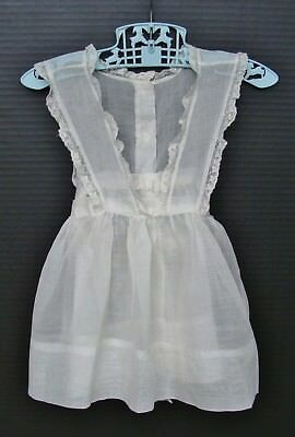 Vintage Sheer Toddler Girl Pinafore Apron Dress with Lace Trim