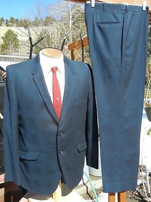 Flawed Vintage 1960s Blue Check Suit 43R 34x30 - Narrow Lapels, Peg Cuffs