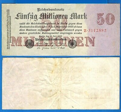 Germany P-98a 2 Millionen Marks Dated 25.7.1923 Circulated Banknote Europe
