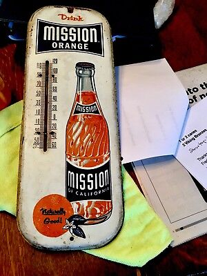 """Vintage Mission Orange Soda Bottle Thermometer Adverting Sign Accurate 17"""" KS"""