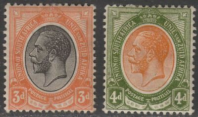 South Africa 1913 King George V 3d, 4d Mint SG8a SG10a with faults