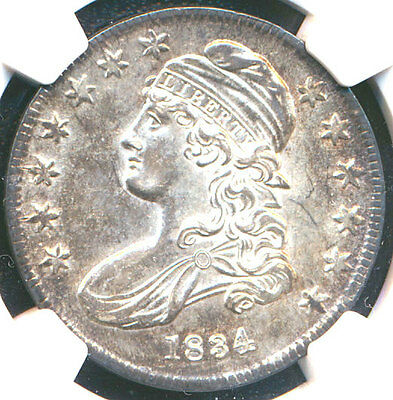 1834 50C Large Date, Large Letter AU58 NGC-PQ-CAPPED BUST HALF DOLLAR