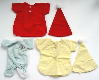 """3 Vintage 1970's Peanuts SNOOPY NIGHTSHIRT & SLEEPER OUTFITS for 11"""" PLUSH DOLL"""