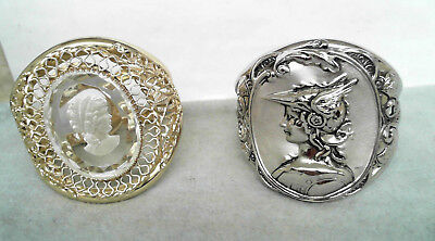 Lot of 2- Vintage Whiting & Davis Cameo Filigree & Stamped Bangle Cuff Bracelets