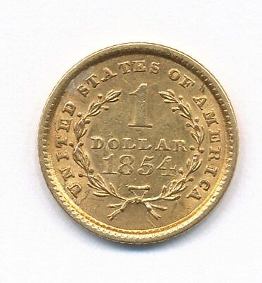 1854 One Dollar Liberty Gold Coin