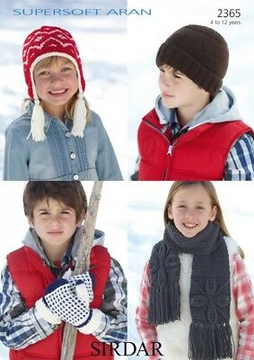 Free UK P&P - Sirdar Childrens Hats, Scarves & Mittens Supersoft Knit...