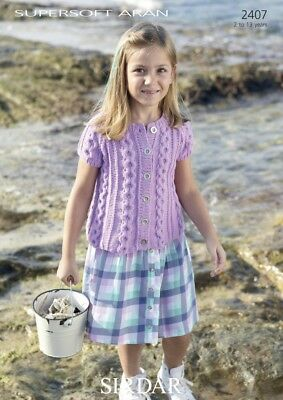 Free UK P&P - Sirdar Girls Cardigan Supersoft Knitting Pattern 2407  Aran...
