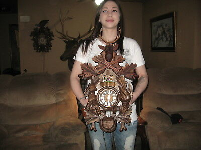 Beautiful German Carved 8 Day Musical Cuckoo Clock With Spinning Dancers