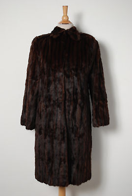 Vintage Brown Black Mink Fur Pelt Stroller Jacket Coat Size S-M