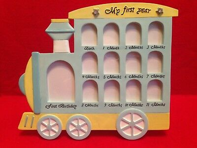 Yellow  Ceramic Baby First Year Picture Frame Train