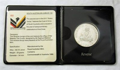 """1986 """"State Series"""" South Australia Jubilee $10 Silver Uncirculated - RAM OGP"""