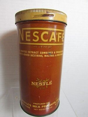 Vintage Advertising Tin Container Nescafe Coffee Extract Nestles Milk Products