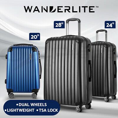 "Wanderlite Suitcases Luggage Set 20"" 24"" 28""Carry On Trolley TSA Travel Bag"