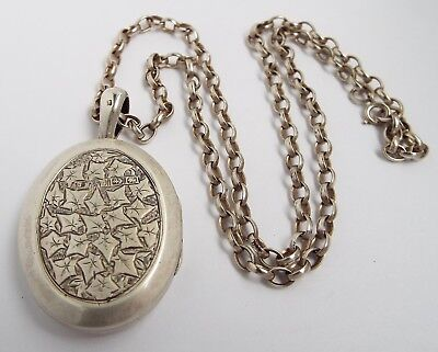 Beautiful Large Genuine English Antique Victorian 1882 Solid Silver Photo Locket