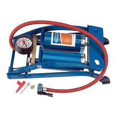 Draper 1x Double Cylinder Foot Pump with Gauge Professional Tool 25996