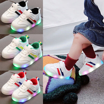 Kids Toddler Baby Girl Boys LED Luminous Soft Shoes Trainers Leather Sneakers UK