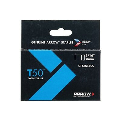 Arrow T50 Staples Stainless Steel 505SS 8mm 5/16in Box 1000 A505SS0