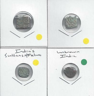 4 DIFFERENT UNKNOWN COINS from ANCIENT INDIA (Lot #1)