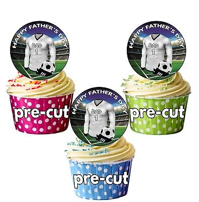 24 Circle Football FATHERS DAY Cup Cake Stand Up Toppers Real Madrid Colours