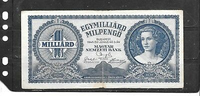 Hungary #131 1946 Millard Pengo Vg Used Old Banknote Paper Money Currency Bill