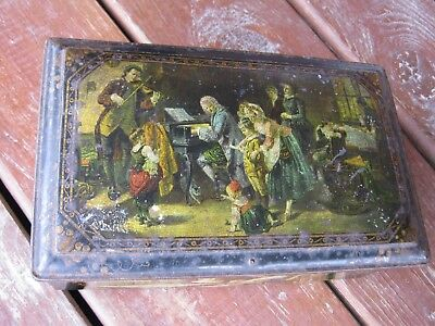 Antique English Metal Box Jewelry Box Victorian Box rare has petina no key