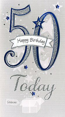Happy 50th Birthday Hand Finished Champagne Range Age 50 Male Greeting Card