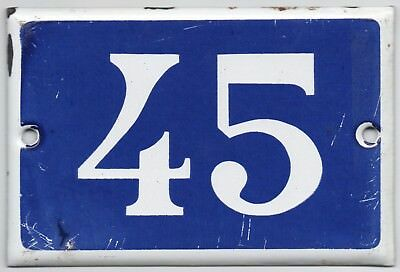 Old blue French house number 45 door gate plate plaque enamel steel metal sign