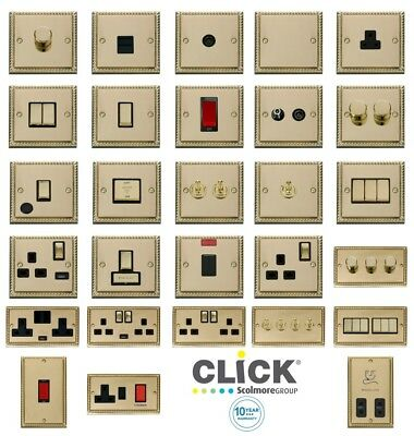 Click Deco 'INGOT' Georgian Cast Brass Switches and Sockets with Black Trim