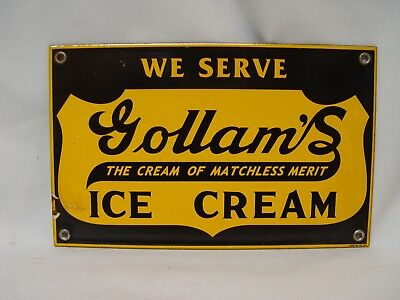 We Sell Gollam's Ice Cream Of Matchless Merit Porcelain Advertising Sign