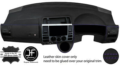 BLACK STITCH FITS VW T4 TRANSPORTER CARAVELLE CAMPER DASH DASHBOARD LTHR COVER