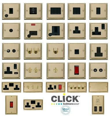 Click Deco Georgian Cast Brass Switches and Sockets with Black Inserts