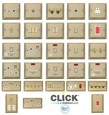 Click Deco Georgian Cast Brass Switches and Sockets with White Inserts