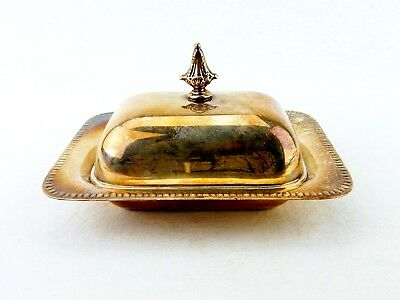 Sheffield SilverPlate Butter Dish Cut Glass Insert, Vintage #340 Butter Dish