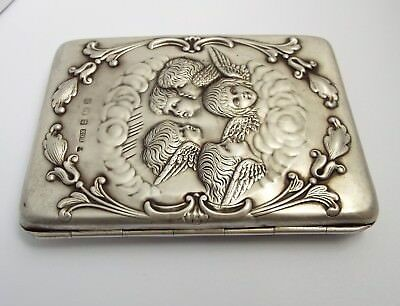 Superb Clean English Antique 1903 Cherubs Angels Solid Sterling Silver Card Case