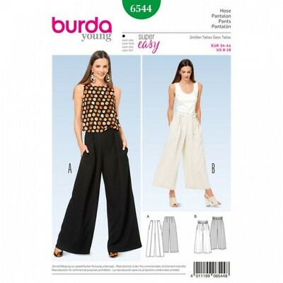 BURDA LADIES EASY Sewing Pattern 6544 Wide Leg Pants (Burda-6544)