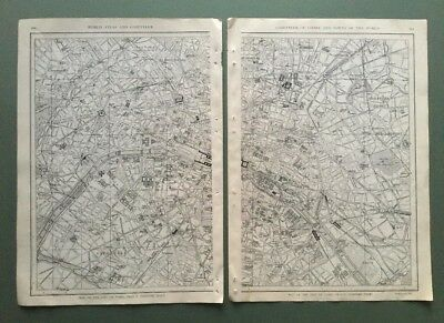 Original Antique Street Maps:The City of Paris on 2 pages from 1917 Atlas