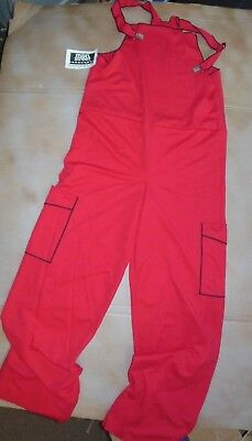 NEW HIP HOP COSTUME OVERALLS Mens Small Lightweight red /blk stitching