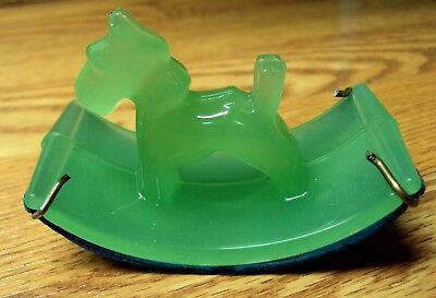 Vtg Depression Glass Ink Blotter JADEITE JADITE Satin GREEN SCOTTIE TERRIER DOG
