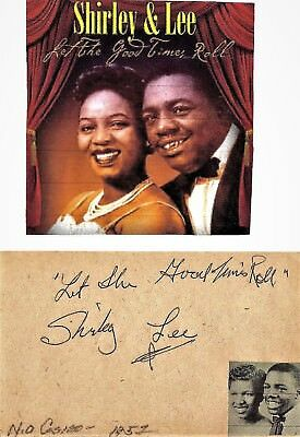 Shirley And Lee - Vintage In Person Hand Signed Page With Picture Rare As Such,