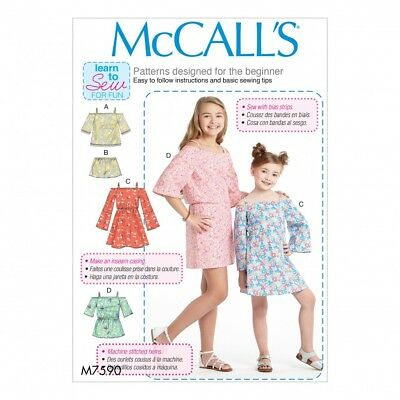 MCCALLS SEWING PATTERN M7587 Childrens/Girls Dress,Learn To Sew For ...