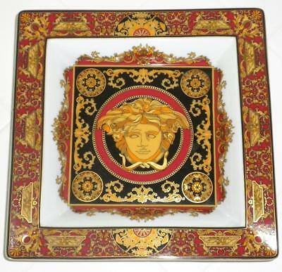 "Rosenthal Versace MEDUSA RED CANAPY PLATE /Candy Dish 8"" Square Luxurious"