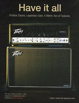 The 2017 Peavey Invective Series 120 head amp and 2x12 cabinet 8 x 11 ad print