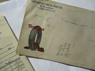 1928 (2) AWESOME FIRESTONE TIRE PICTURE Watertown,New York postmark Cover/letter