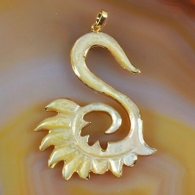 Yellow Shell Carved Swan Slice Pendant Bead Gold Plated T055991
